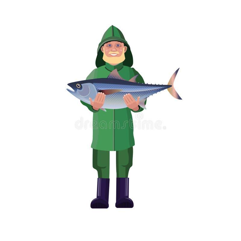 Fischer, der Fische hält stock abbildung