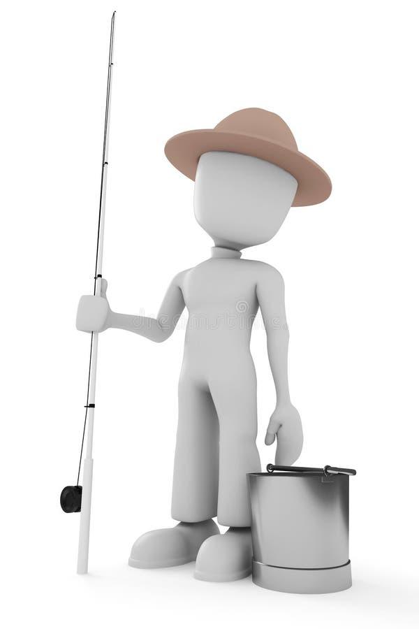 Fischer des Mannes 3d getrennt auf Weiß lizenzfreie abbildung