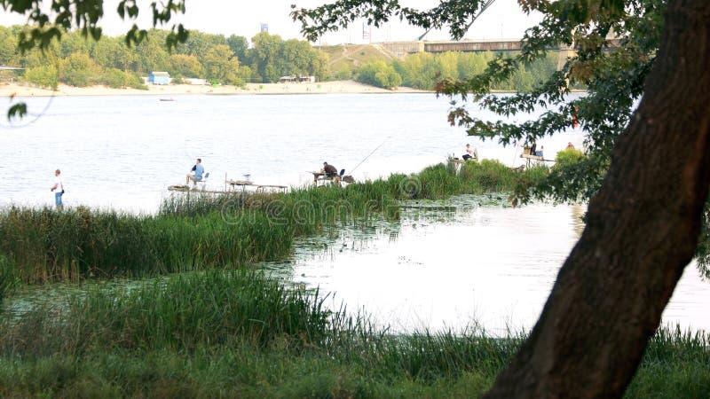 Fischer, die auf dem See fischen lizenzfreie stockbilder
