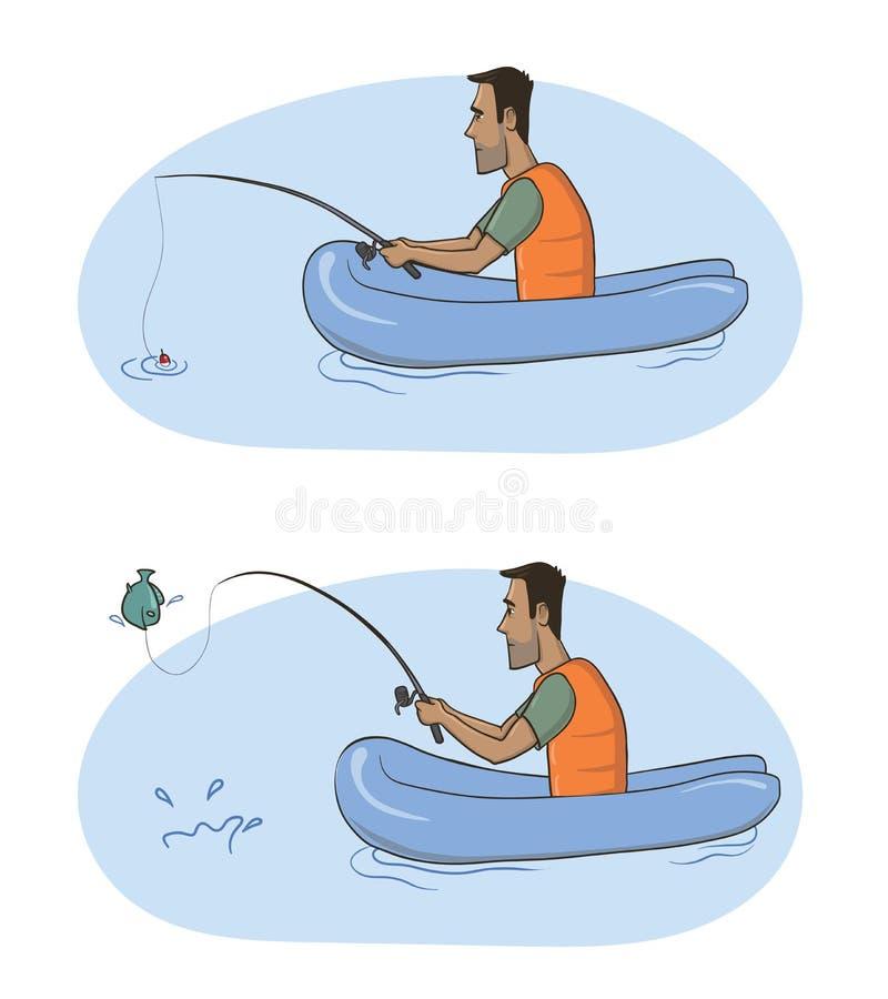 Fischer Ein Mann mit einer Angelrute in einem aufblasbaren Boot fing einen Fisch Vektorabbildung, getrennt auf Weiß stock abbildung