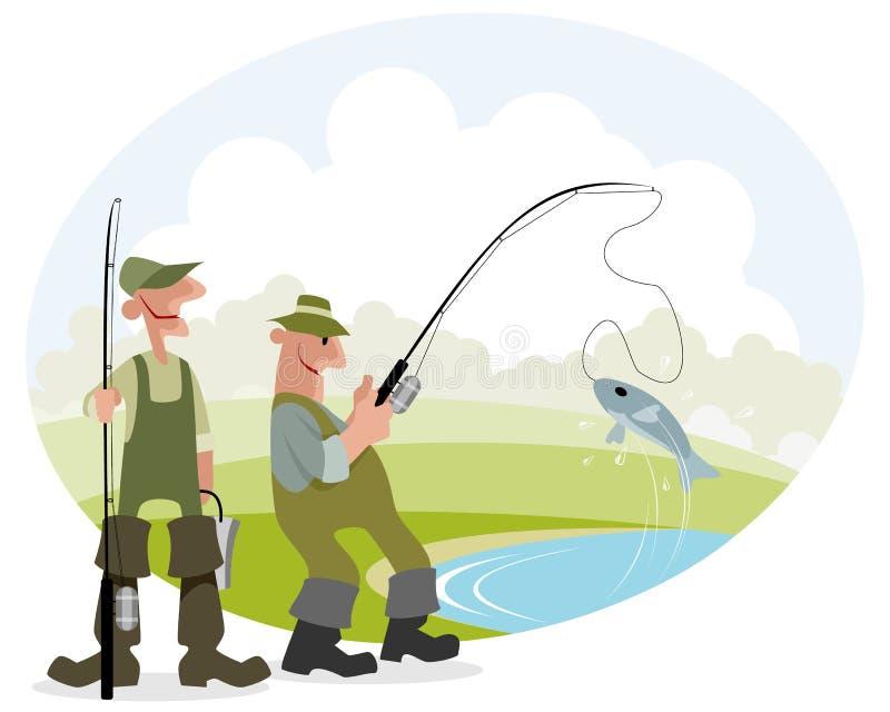 Fischer fängt Fische stock abbildung