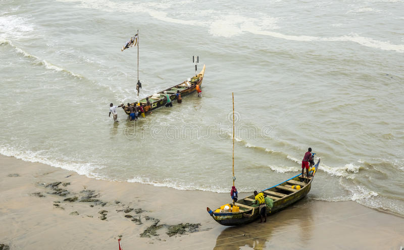Fischer in Ghana lizenzfreie stockbilder