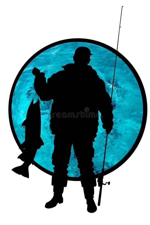 Fischer mit einem Fisch stock abbildung