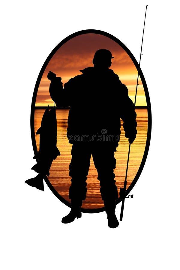 Fischer mit Fischen und einem Fischereigerät lizenzfreie abbildung
