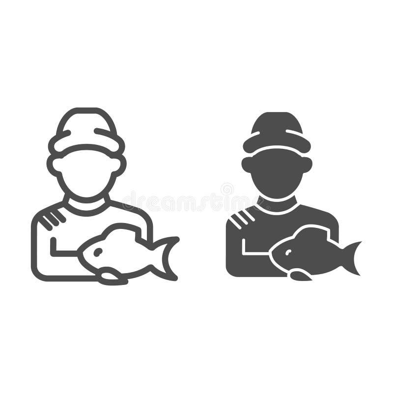 Fischer mit Sehne und Glyphikone Fisher und die Fangvektorillustration lokalisiert auf Weiß Anglerentwurf vektor abbildung