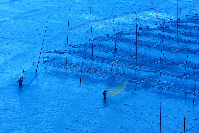 Fischer nähern sich dem Meerespflanzebauernhof stockbild