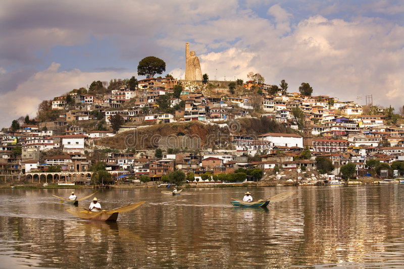 Fischer-Netz-Morgen Janitizo Insel Mexiko lizenzfreies stockbild