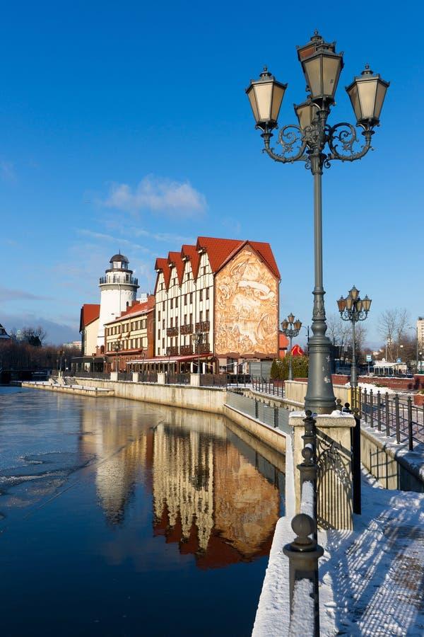 Fischer ` s Dorf in Kaliningrad lizenzfreies stockfoto