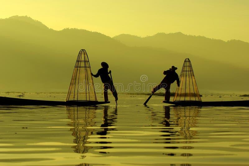 Fischer von Inle See, Myanmar lizenzfreies stockfoto