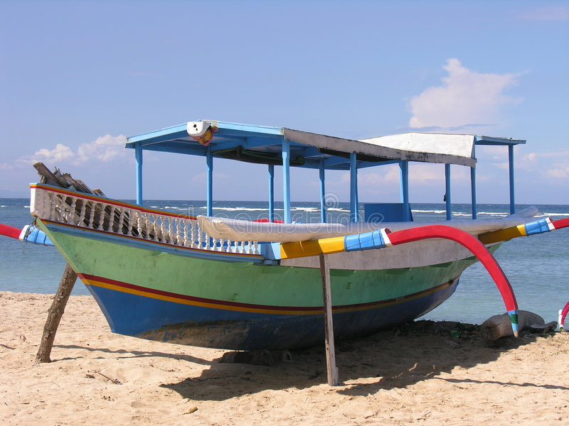 Fischerboot in Bali stockfoto