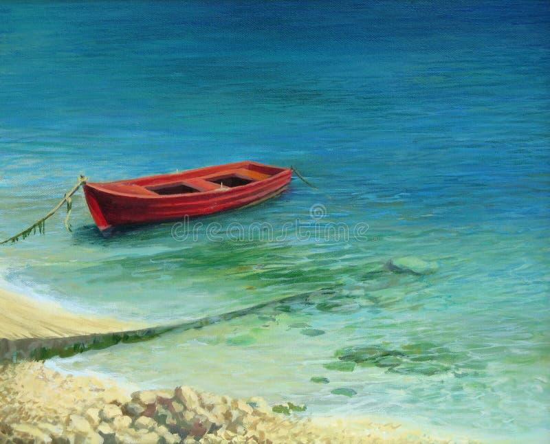 Fischerboot in der Insel Korfu lizenzfreie abbildung