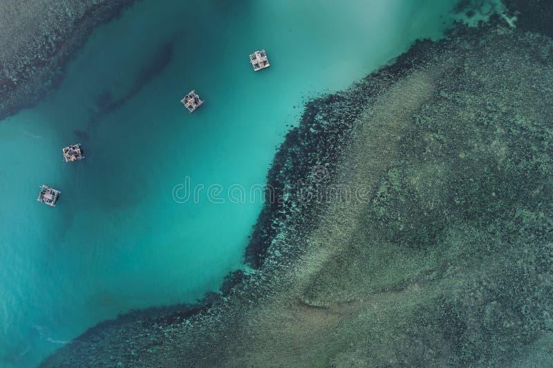 Fischerboote, die in Meer von oben, Bintan-Insel, Indonesien schwimmen stockbilder