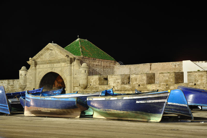 Fischerboote in Essaouira, Marokko stockbild