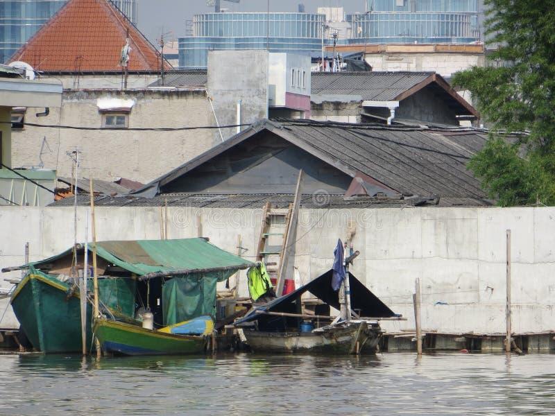Fischerboote in Jakarta stockbild