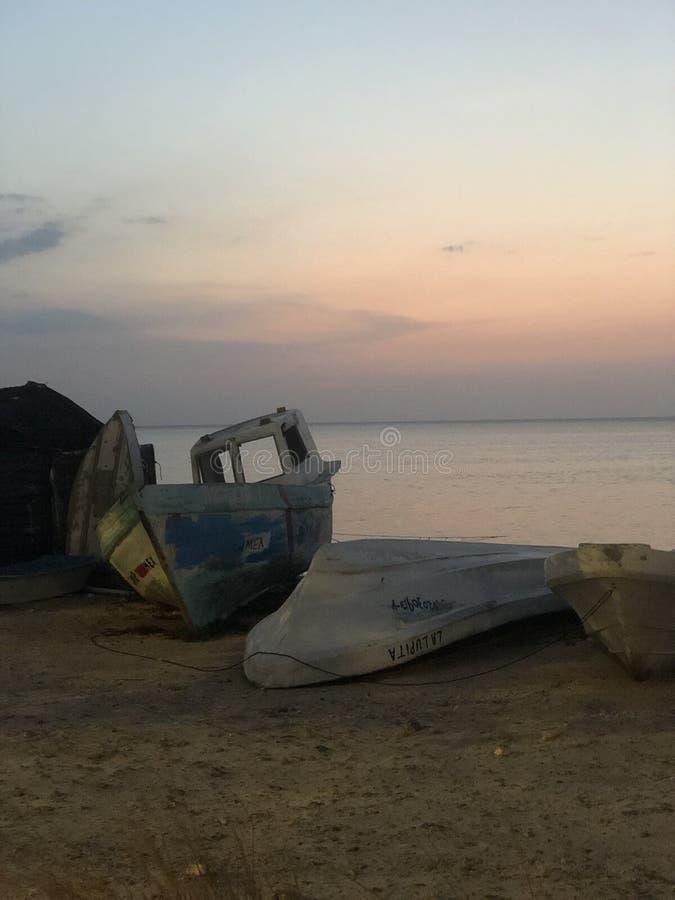 Fischerboote, Küste, Campeche lizenzfreies stockbild