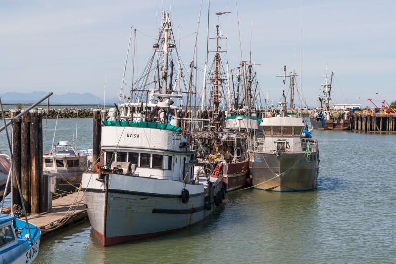 Fischerboote in Steveston lizenzfreie stockfotografie