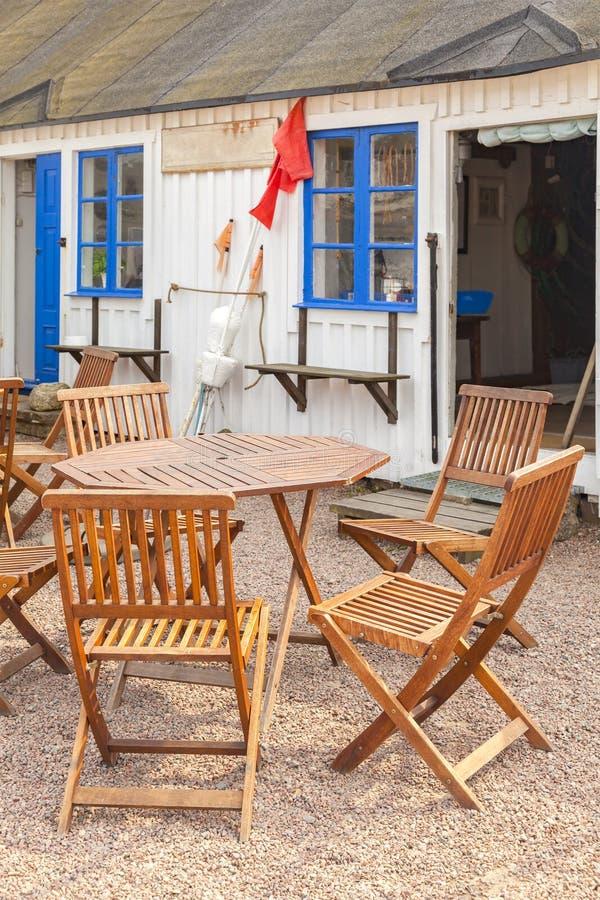 Fischerdorfcafé lizenzfreies stockfoto