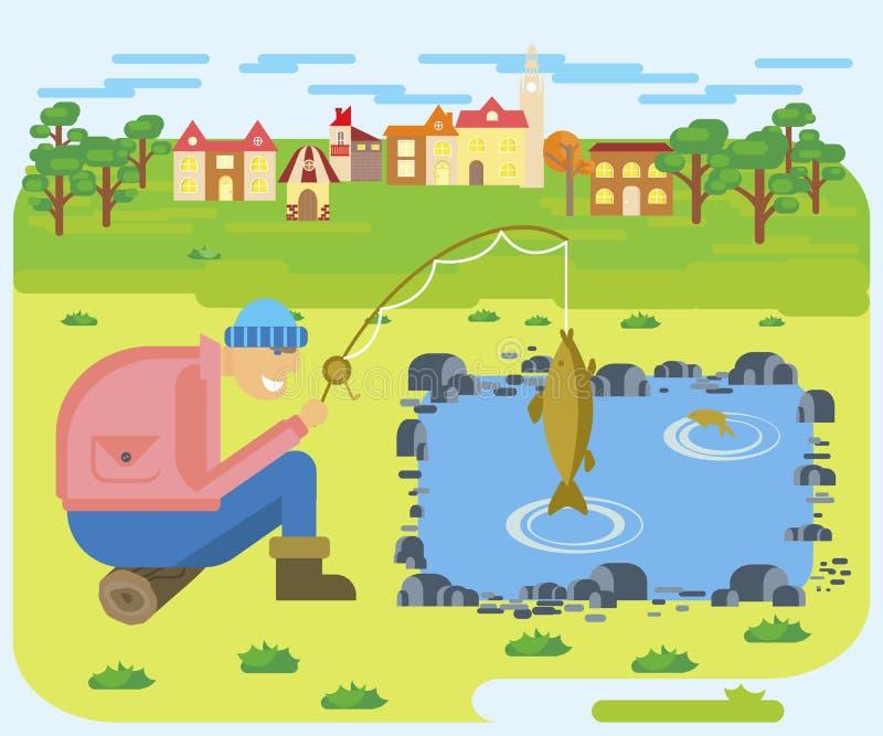 Fischerei auf einem See stock abbildung