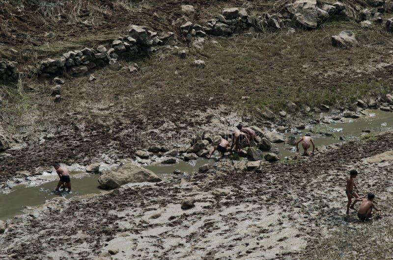 Fischerei in den Kindern stockfotos