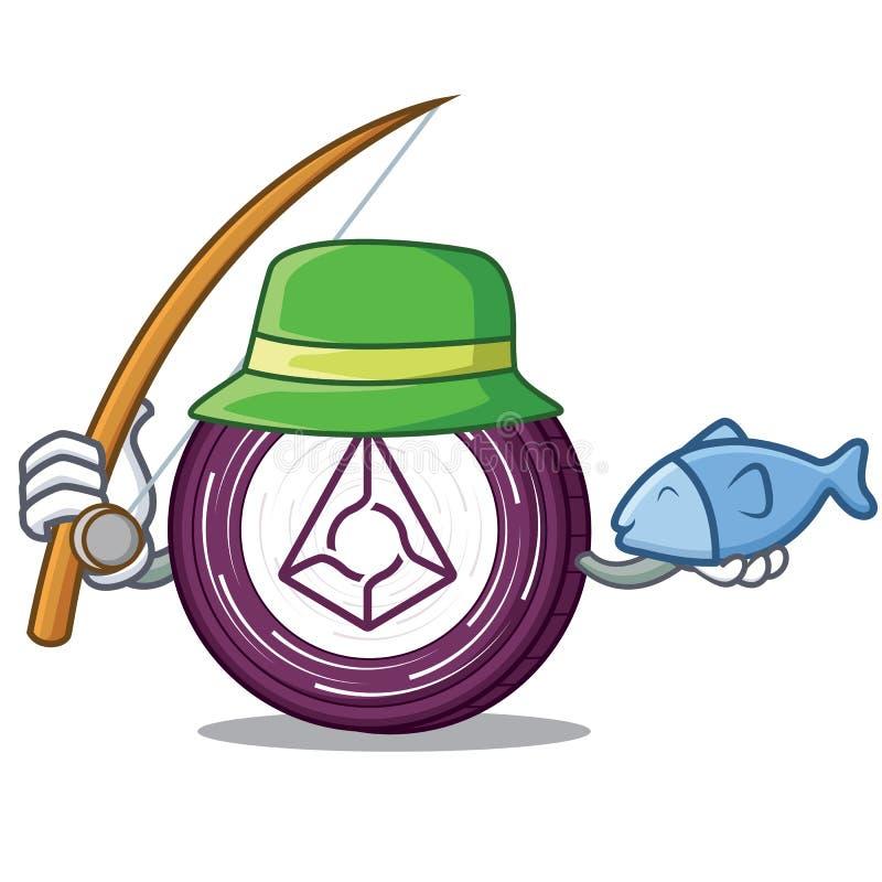 Fischerei der Augurmünzen-Maskottchenkarikatur lizenzfreie abbildung