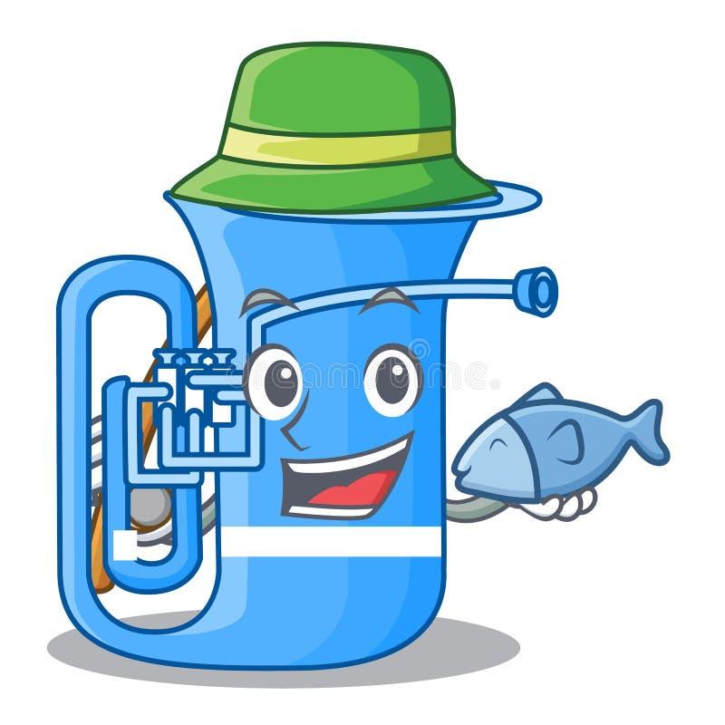 Fischerei der Tuba in der lustigen Karikatur der Form lizenzfreie abbildung