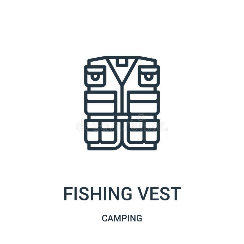 Fischerei des Westenikonenvektors von kampierender Sammlung D?nne Linie, die Westenentwurfsikonen-Vektorillustration fischt Linea vektor abbildung
