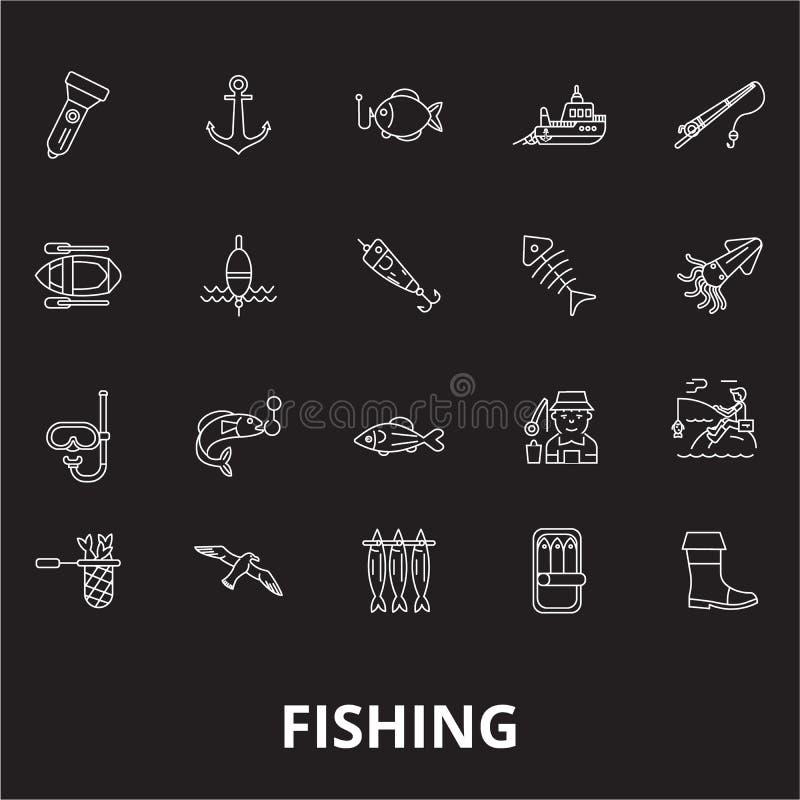 Fischerei editable Linie Ikonenvektorsatz auf schwarzem Hintergrund Fischerei von weißen Entwurfsillustrationen, Zeichen, Symbole lizenzfreie abbildung