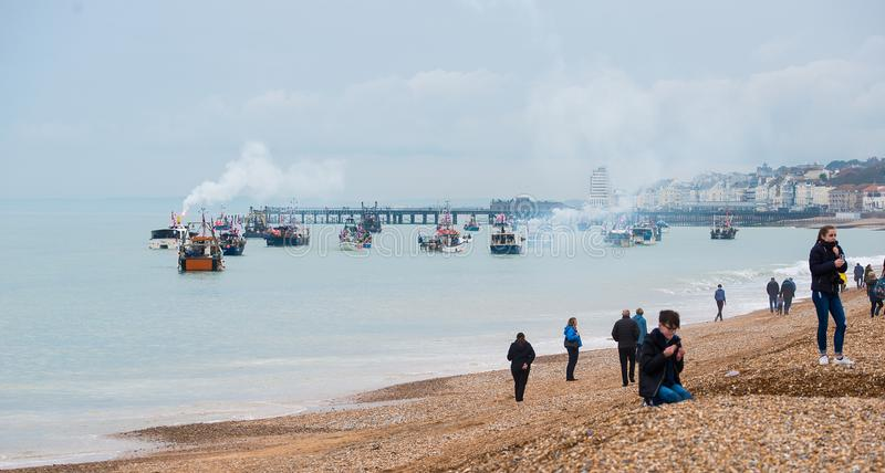 Fischerei für Urlaubprotest durch Fischer und Einheimische bei Hastings in England stockbild