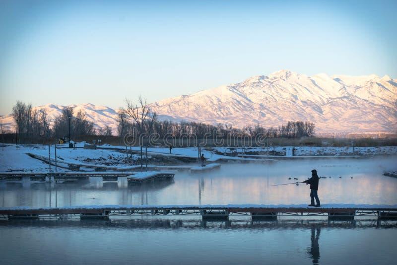 Fischerei im kalten Teich lizenzfreies stockbild