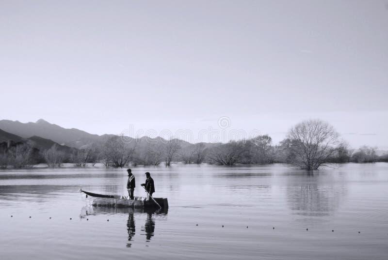Fischerei im See stockbilder