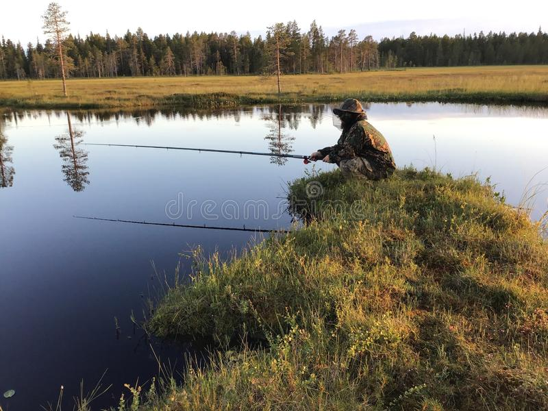 Fischerei im Wald stockfotos