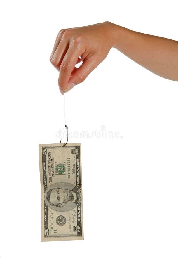 Fischerei mit Geld stockfoto