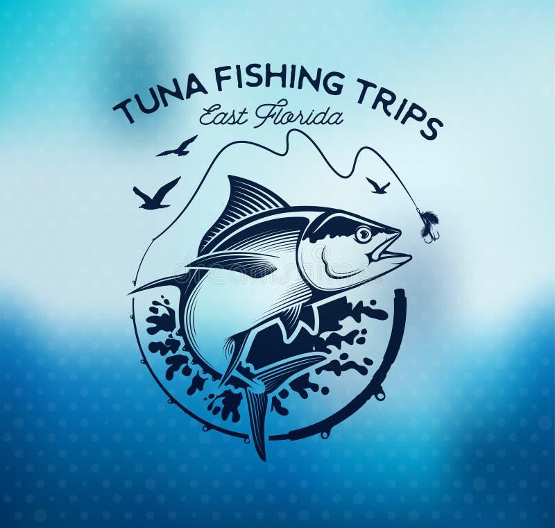 Fischerei von Aufklebern, von Ausweisen, von Emblemen und von Gestaltungselementen Illustrationen des Thunfischs vektor abbildung