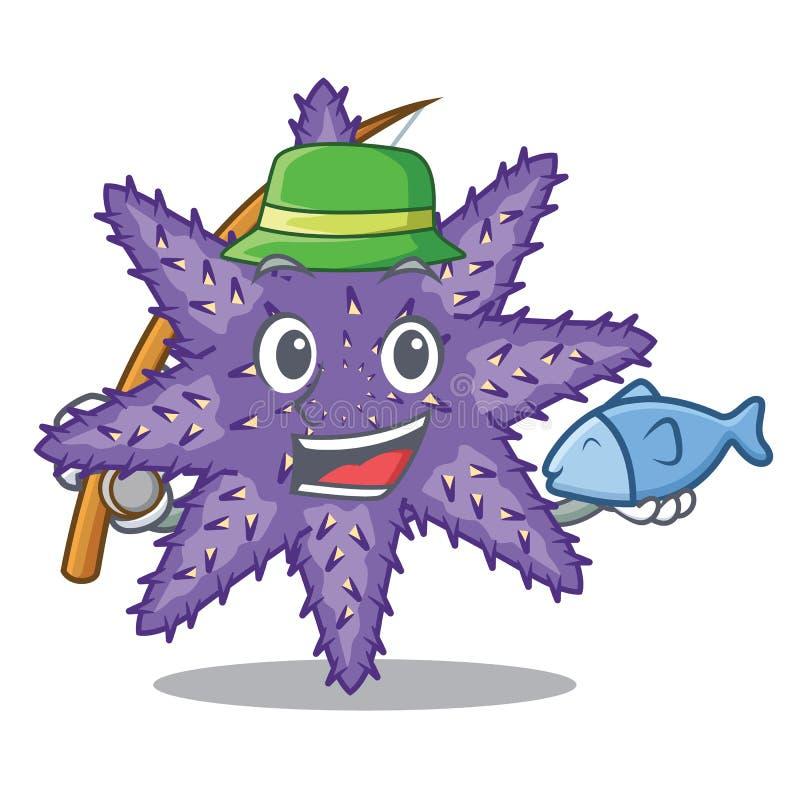 Fischerei von purpurroten Starfish in der Zeichenform lizenzfreie abbildung