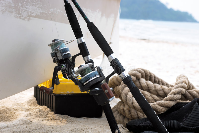 Fischereiausrüstung stockfotografie