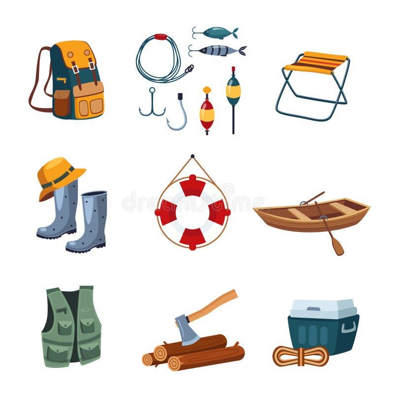 Fischereiund kampierende Ausrüstung im flachen Design stock abbildung