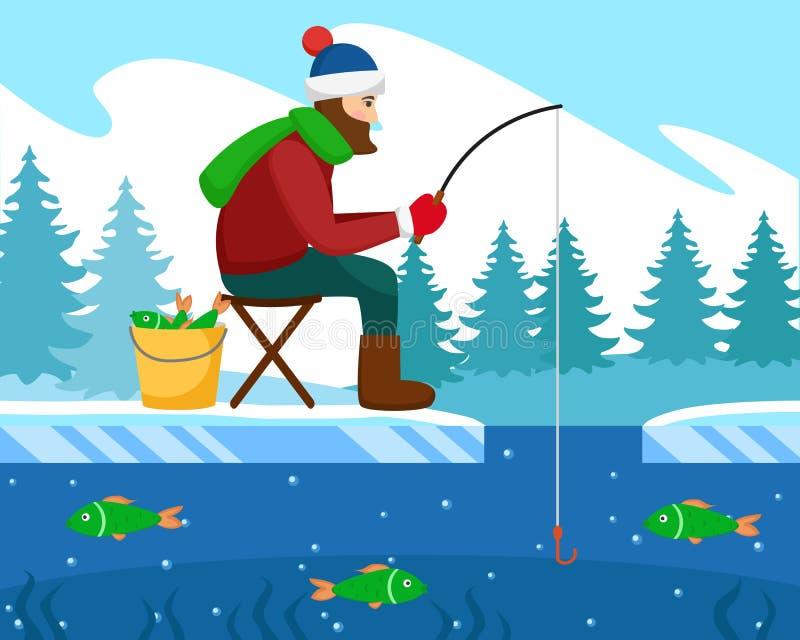 Fischerfänge fischen im Winter auf der Stange stock abbildung