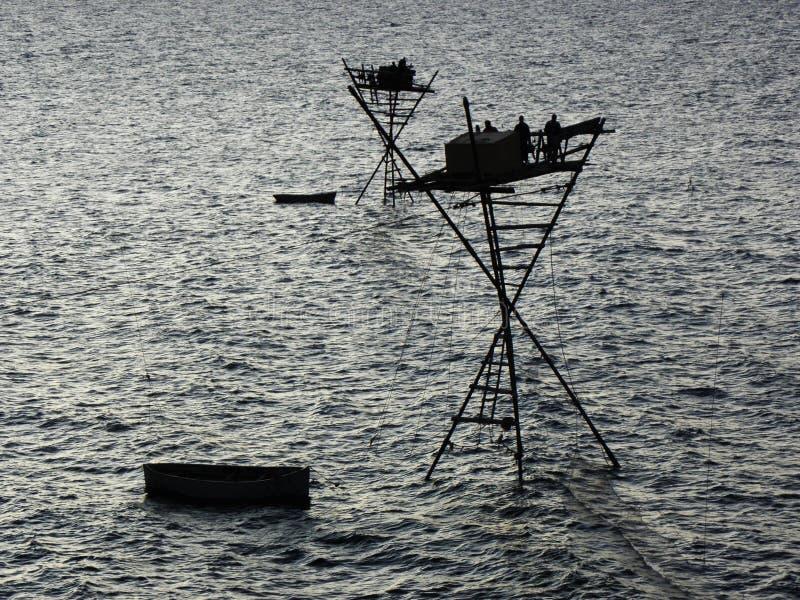 Fischerfischenanlage lizenzfreie stockbilder