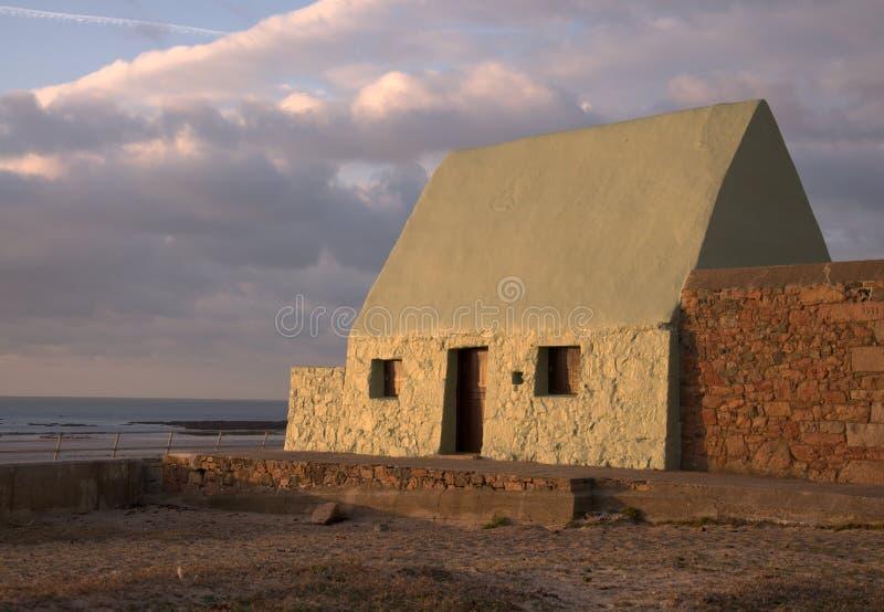 Fischerhaus in Jersey Großbritannien stockbild