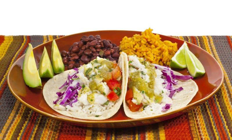 Fischetacos-Mahlzeit stockfoto