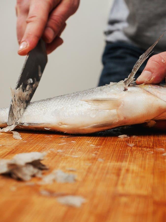Fischhändler, der an entzundernden Seebrassen auf einem hölzernen Brett, selektiver Fokus arbeitet lizenzfreie stockbilder