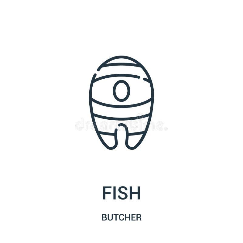 Fischikonenvektor von der Metzgersammlung Dünne Linie Fischentwurfsikonen-Vektorillustration Lineares Symbol für Gebrauch auf Net lizenzfreie abbildung