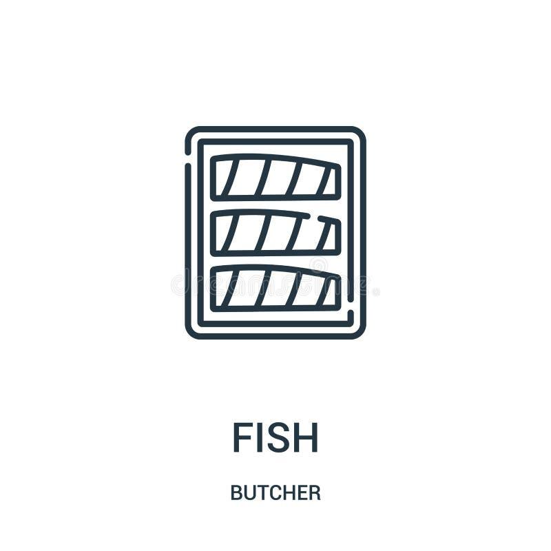Fischikonenvektor von der Metzgersammlung Dünne Linie Fischentwurfsikonen-Vektorillustration Lineares Symbol für Gebrauch auf Net vektor abbildung