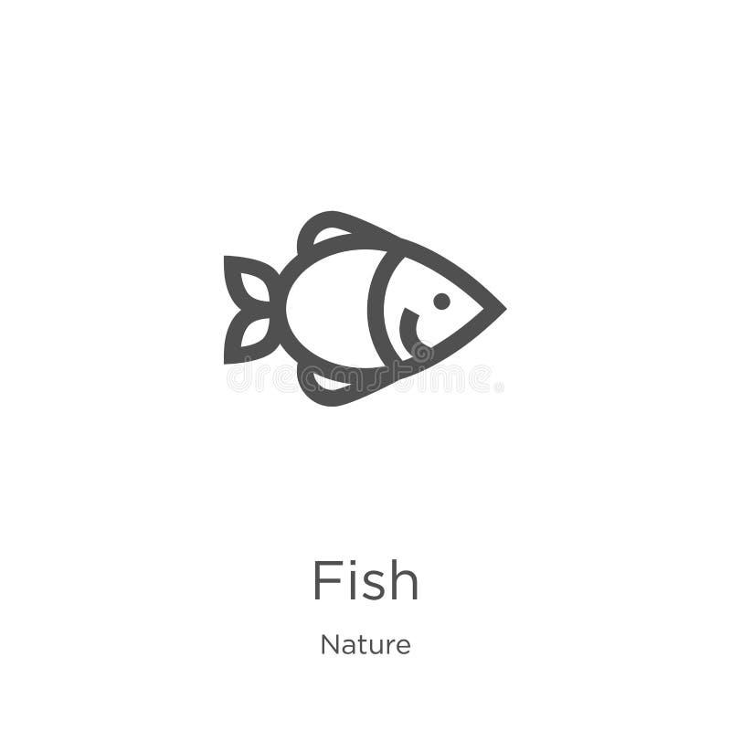 Fischikonenvektor von der Natursammlung Dünne Linie Fischentwurfsikonen-Vektorillustration Entwurf, dünne Linie Fischikone für We lizenzfreie abbildung