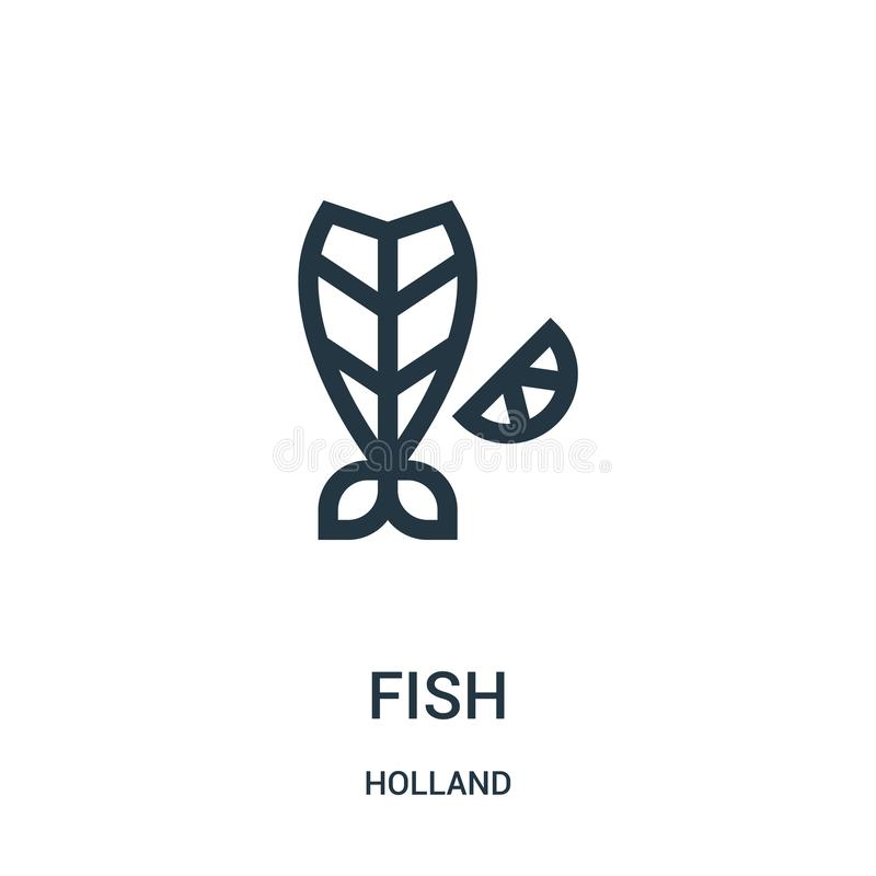 Fischikonenvektor von Holland-Sammlung Dünne Linie Fischentwurfsikonen-Vektorillustration Lineares Symbol für Gebrauch auf Netz u vektor abbildung
