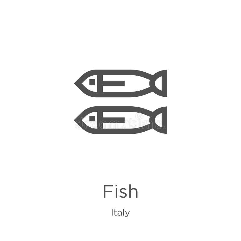 Fischikonenvektor von Italien-Sammlung D?nne Linie Fischentwurfsikonen-Vektorillustration Entwurf, d?nne Linie Fischikone f?r Web vektor abbildung
