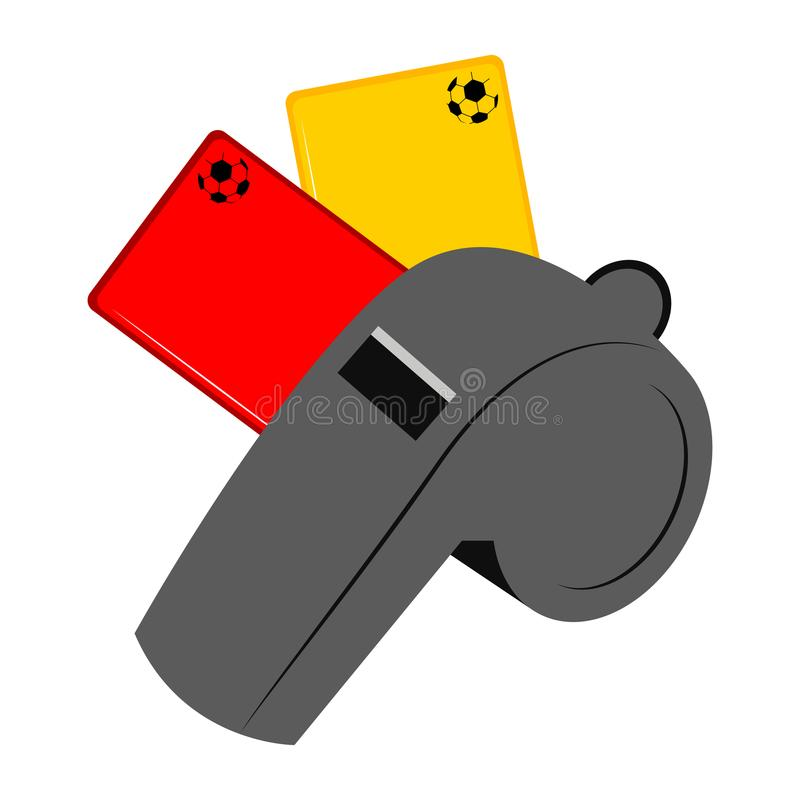 Fischio con un'icona del cartellino giallo e di rosso illustrazione di stock