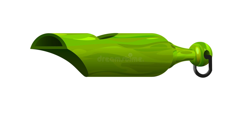 Fischio di plastica verde d'annata illustrazione di stock