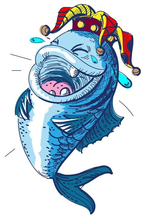 Fischlachen täuscht am 1. April Tag Clownkronenkönig von Dummköpfen lizenzfreie abbildung