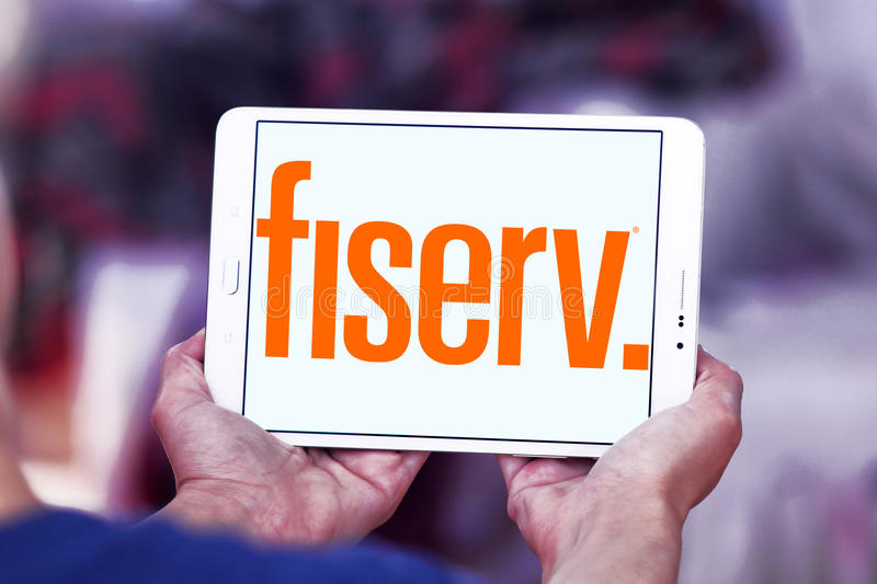 Fiserv company logo. Logo of Fiserv company on samsung tablet. Fiserv is an American provider of financial services technology. The company`s clients include royalty free stock image